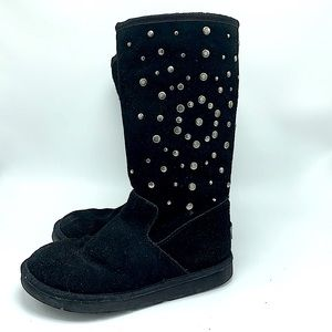 Ugg boots size 7 black tall studded
